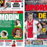 2019年6月14日(金)のバルセロナスポーツ紙:引き続きグリースマンとデ・リフト