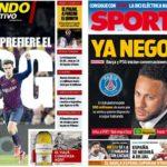 2019年6月21日(金)のバルセロナスポーツ紙:ネイとコウとPSG